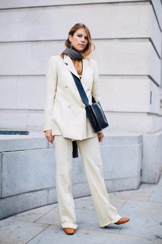Le Fashion Blog London Fashion Week Cream Blazer Cream Trousers Camel Heels Via Sandra Semburg