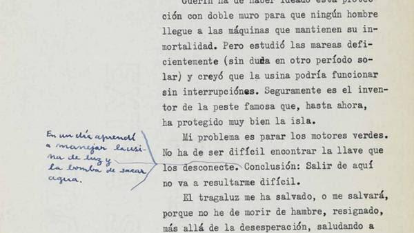 Correcciones. Una página del texto, con las marcas del autor.