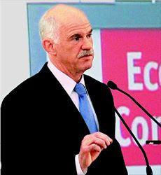 Ο Πρωθυπουργός  Γιώργος Παπανδρέου  στο βήµα του  συνεδρίου του  «Economist»