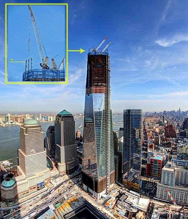 This photo of the 1 WTC is modified to show the point where the skyscraper's 100th floor will be once it is completed.