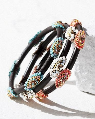 Miguel Ases Beaded Leather Bangle Bracelet