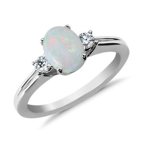 Opal and Diamond Ring in 18k White Gold (8x6mm)   Blue Nile