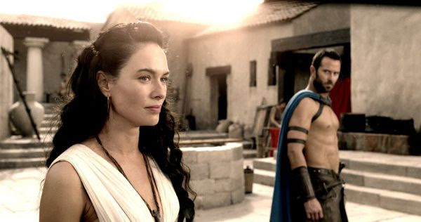 Themistocles tries to persuade Queen Gorgo (Lena Headey) and her Spartans to join the rest of the Greek army in its fight against the Persians in 300: RISE OF AN EMPIRE.
