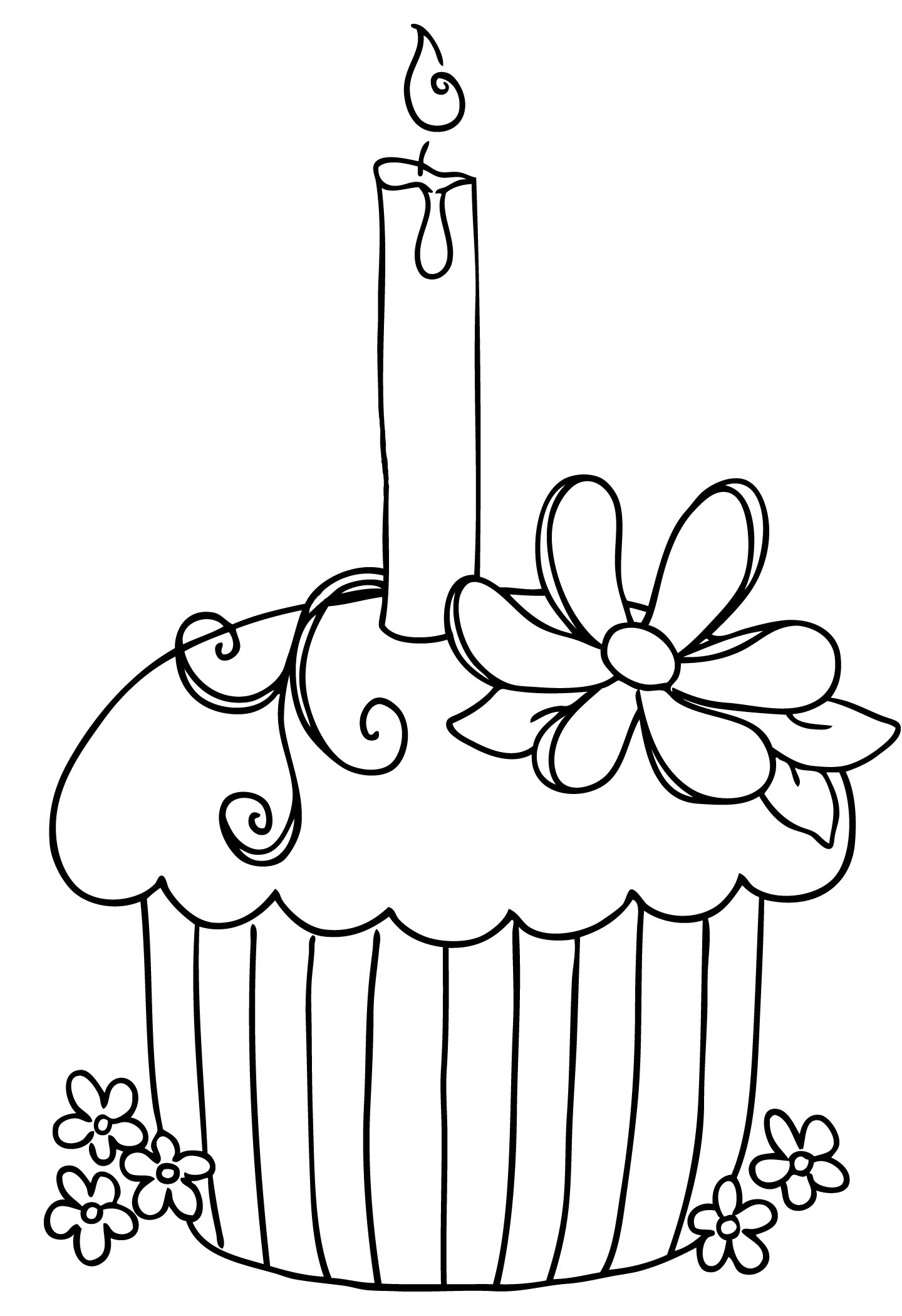Happy Birthday Cake Clipart Black And White Free Clipart