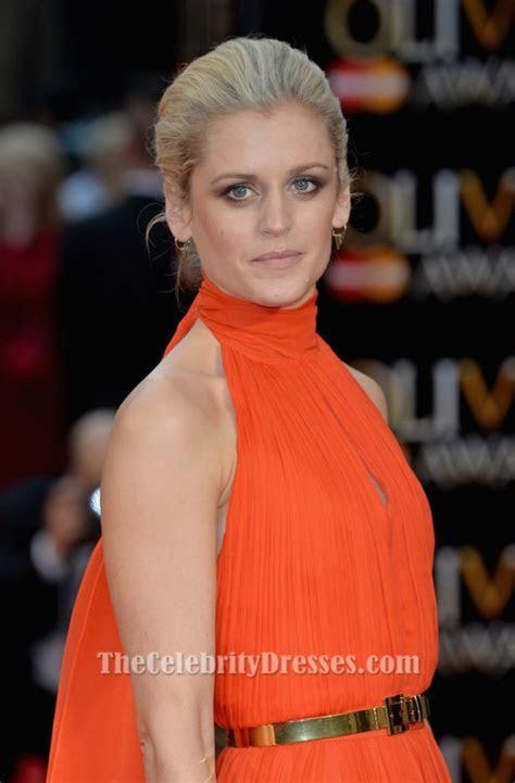 Denise Gough Orange Halter Evening Dress Olivier Awards