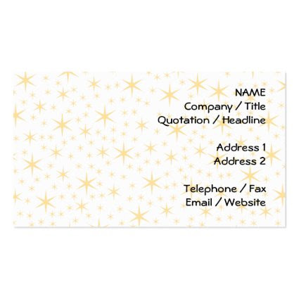 Star Pattern, White and Non-metallic Gold Color. Business Card Template