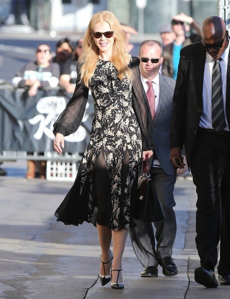 Nicole Kidman 'The Grace Of Monaco' actress Nicole Kidman is all smiles while making an appearance on 'Jimmy Kimmel Live!' in Hollywood, California on October 28, 2014. 'Survivor' actor Dylan McDermot is seen arriving for his appearance as well.