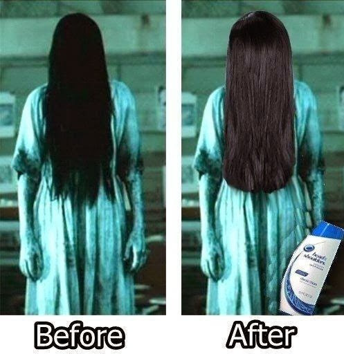 Sadako tries Head & Shoulders