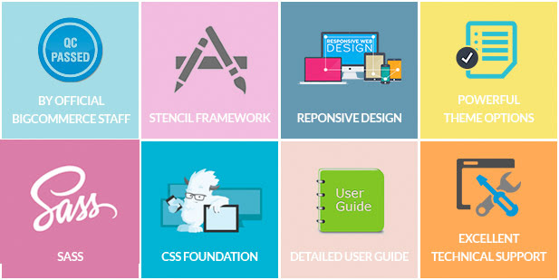 QC Passed, Stencil Framework, Responsive Design, Powerful Theme Options, Sass, CSS Foundation, Detailed User Guide, Best Support