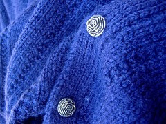 handknit purple wool vest with rose buttons