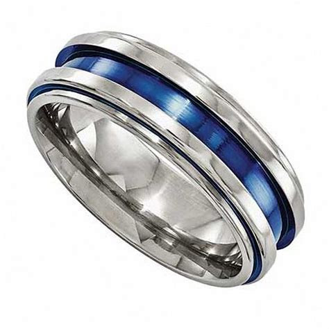 Edward Mirell Men's 7.5mm Blue Grooved Wedding Band in