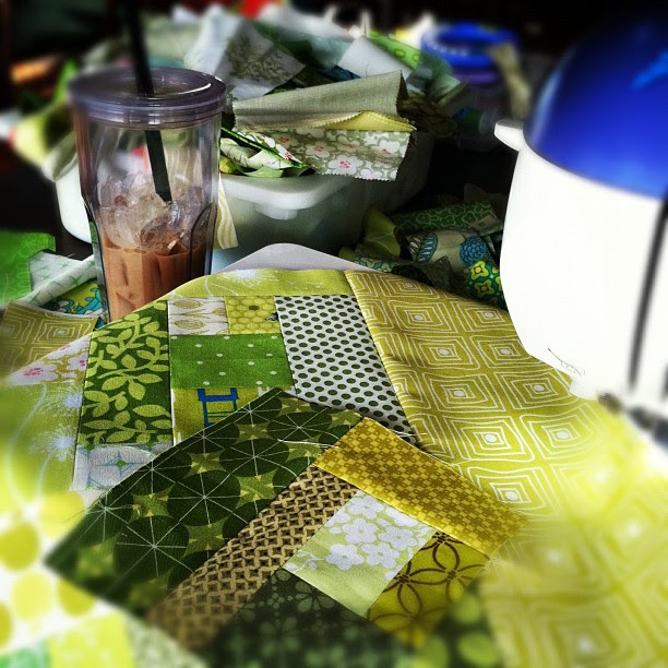 Great way to start the morning. Iced coffee and scrap piecing.