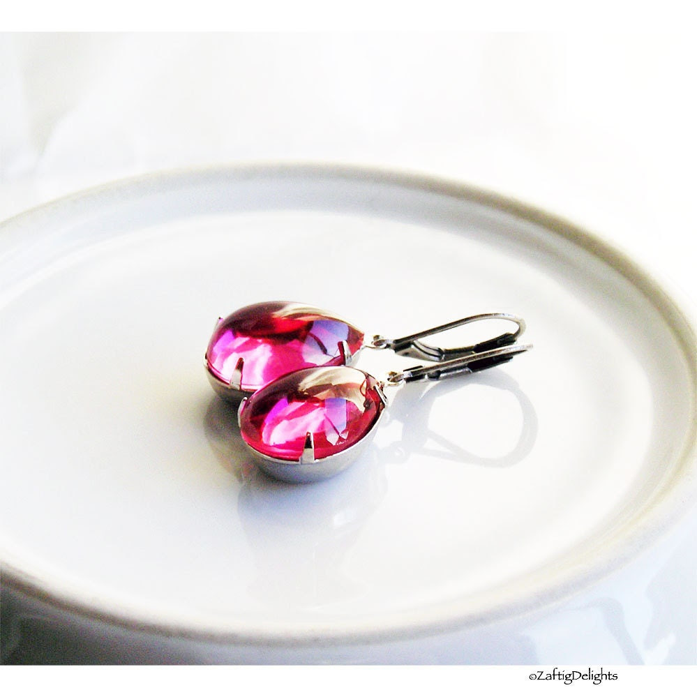 Earrings Hot Pink Glass Pear Drops Antique Silver