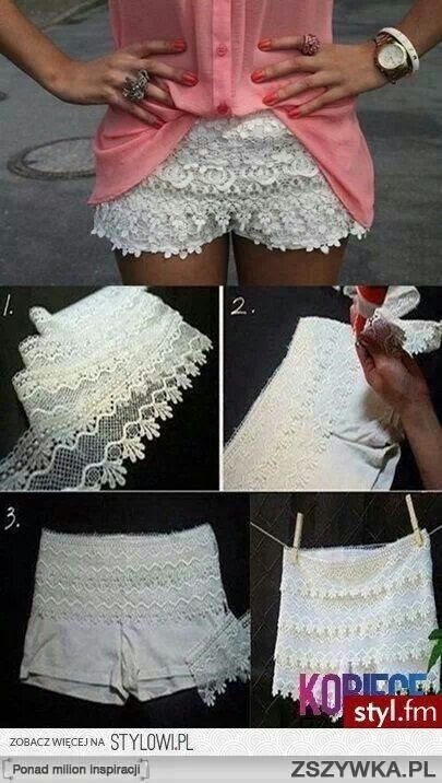 DIY Lace shorts so cute! Could make it into a skort?