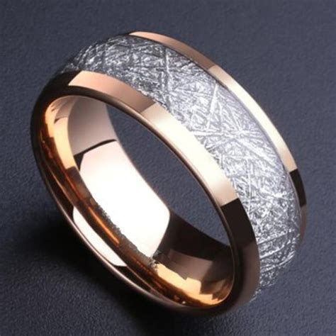 Alibaba aliexpress 8mm Domed Rose Gold Color Tungsten Ring