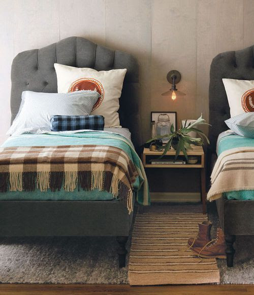 little Boys Room. tufted grey headboards.