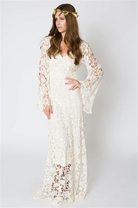 Bell Sleeve Lace Maxi Dress   Bohemian Wedding Dresses