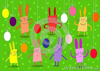 Coelhos E Ovos Coloridos