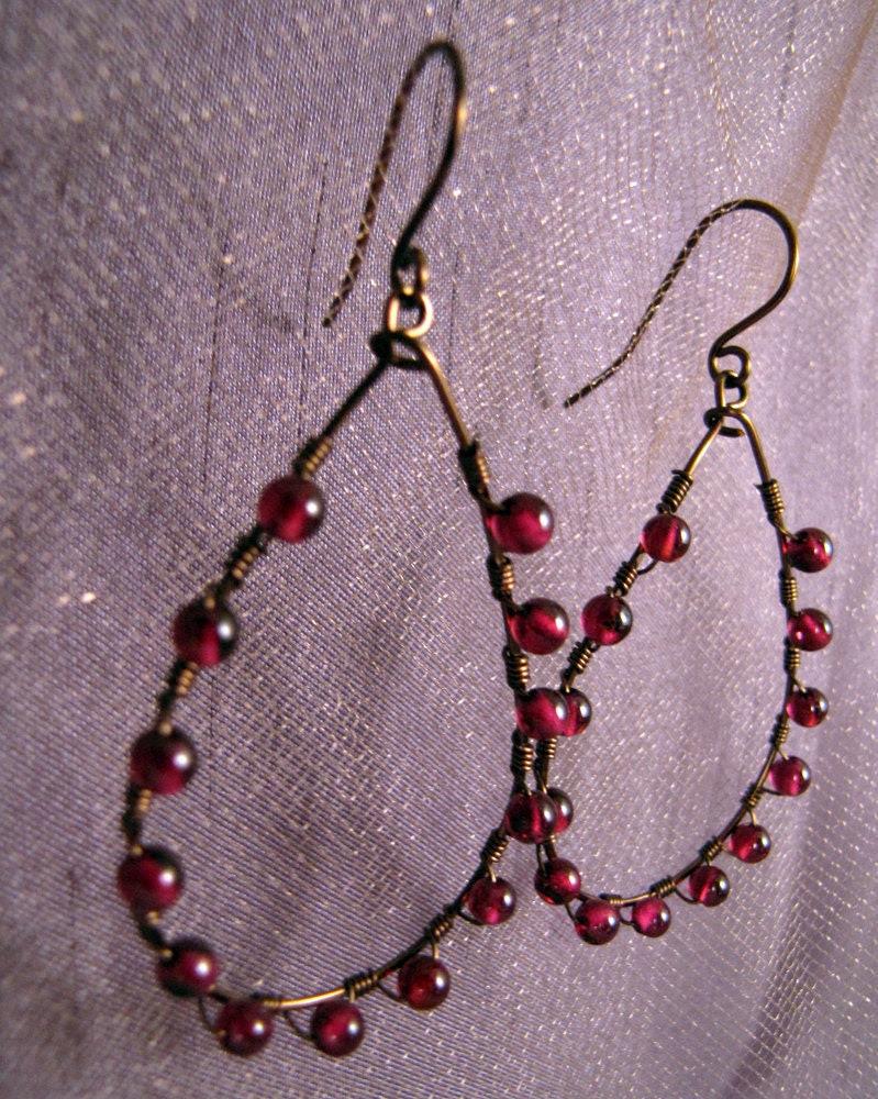 Garnet Teardrop Hoop Earrings - Royal Heirloom Collection