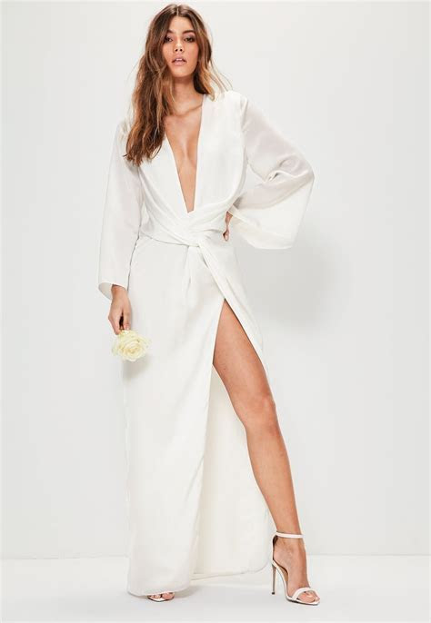 Missguided   Bridal White Kimono Sleeve Twist Front Maxi