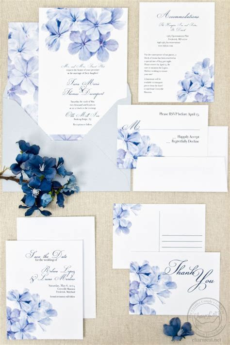 Plumbago Floral Invitation in 2019   The Collection   Semi