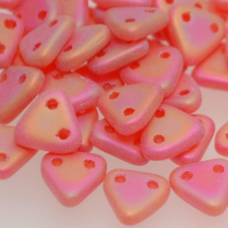 s38936 Glass Beads - Czechmates - 6 mm Two Hole Triangles - Matte Siam Ruby Iris