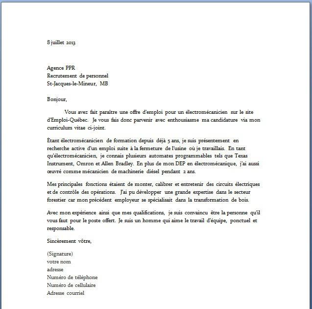 Lettre De Motivation Ingénieur Informatique Débutant ...