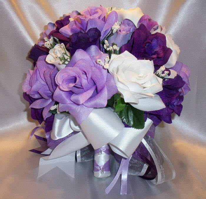 Round Silk Bridal Bouquet Package Purple Lavender White Lily Wedding Flowers  eBay