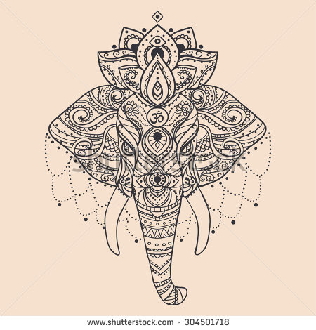Cool Indian Elephant Head Tattoo Design
