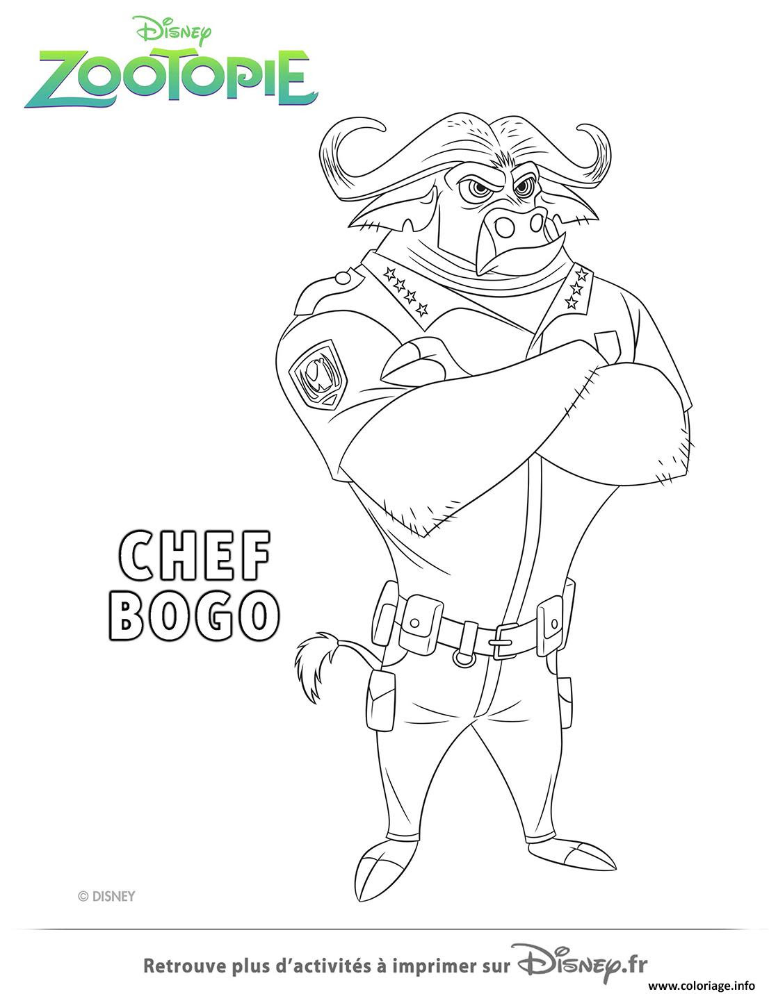 Coloriage Chef Bogo De La Police De Zootopie Dessin  Imprimer