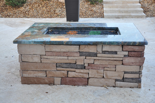 Firemagic Built In Gas BBQ Grill island kitchens with Blue Granite.