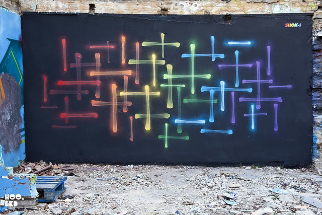 London artist Shok-1 paints his  (5th incarnation of his Xray-Rainbow Mural