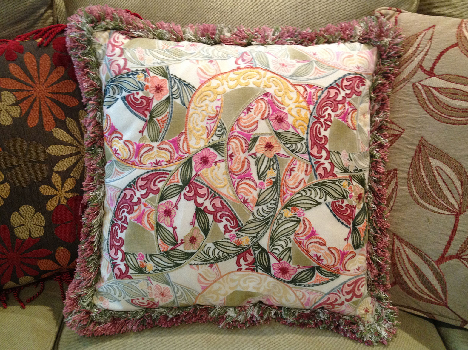 Q is for Quilter » Blog Archive » Embroidered Pillow on Printed Fabric
