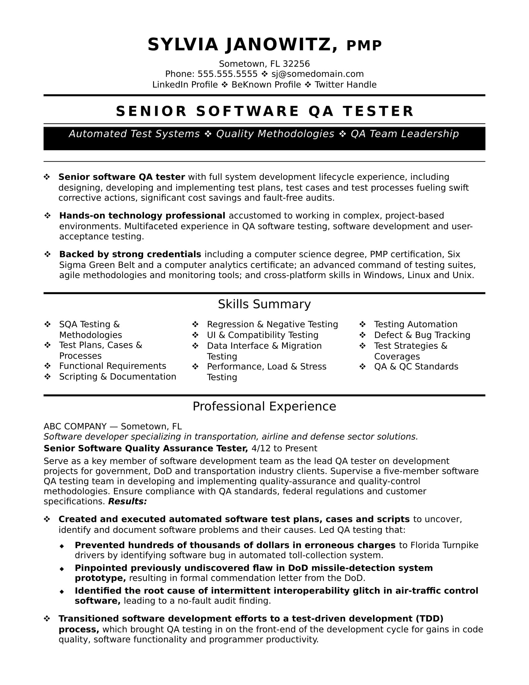 qa software tester experienced