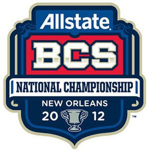 The logo for the 2012 BCS National Championship Game in New Orleans, Louisiana.