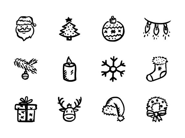 フリー素材 ゆるいタッチが可愛い手描きクリスマスアイコンセット