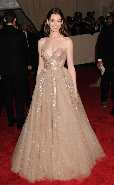 Anne Hathaway in a Valentino ballgown at the Met Ball