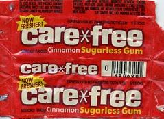 Cinnamon Care*free gum wrapper
