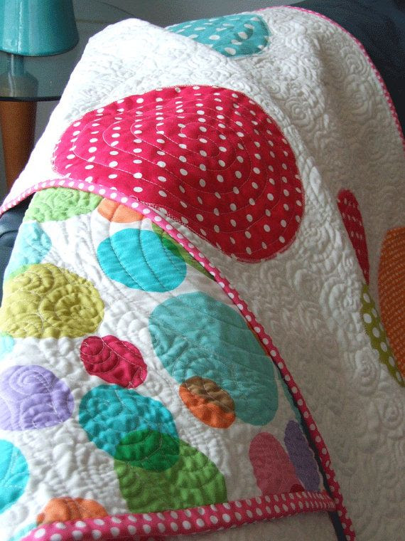 Polka Dot Quilt by sandboxquilts on Etsy, $100.00