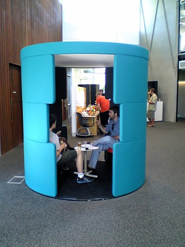 Liam Wyatt and other Wikipedians in a conversation pod at the Inspire Center, University of Canberra, during Recent Changes Camp 2012