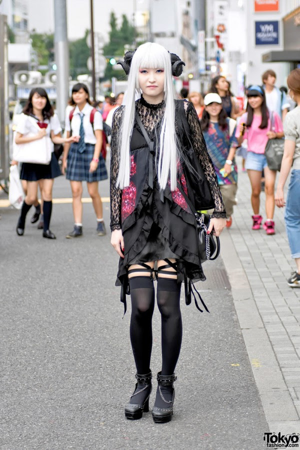 Harajuku Girl in Horns & Gothic Fashion