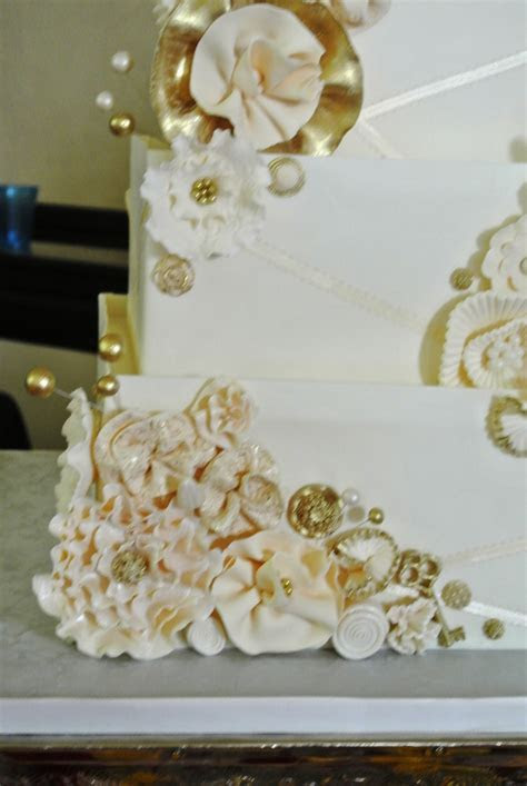 Wedding Cake With Gold Accents   CakeCentral.com