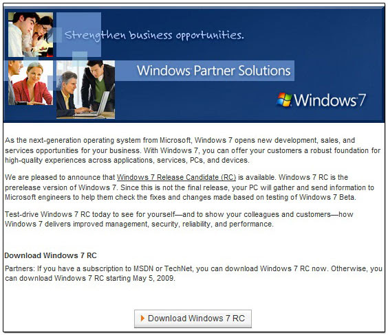 Windows 7 RC Download Page