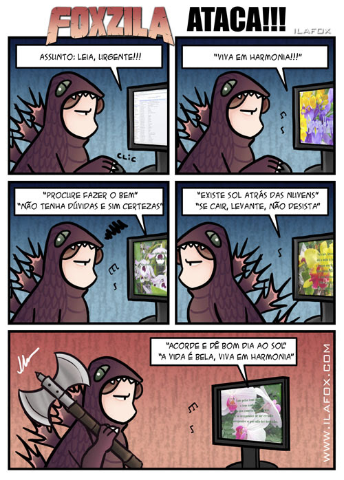Foxzila, a TPM da Ila ataca novamente! quadrinhos by ila fox