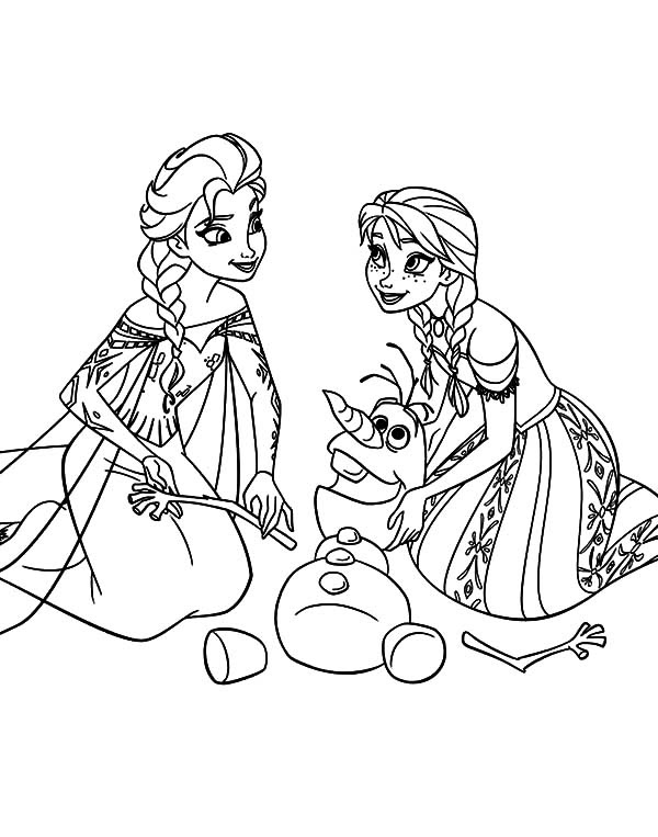 Princess Anna Queen Elsa and Olaf Coloring Pages