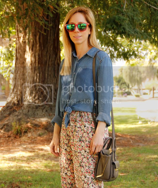 LA fashion blogger The Key To Chic wears a chambray shirt with Charlotte Russe wide leg floral pants for spring 2014.