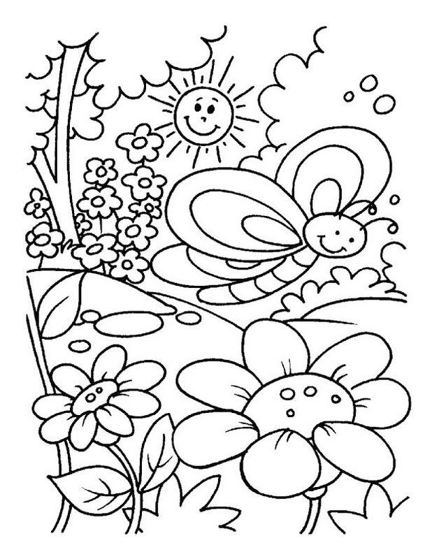 Disegni Da Colorare Primavera.Disegno Paesaggio Primavera Da Colorare Coloratutto Website