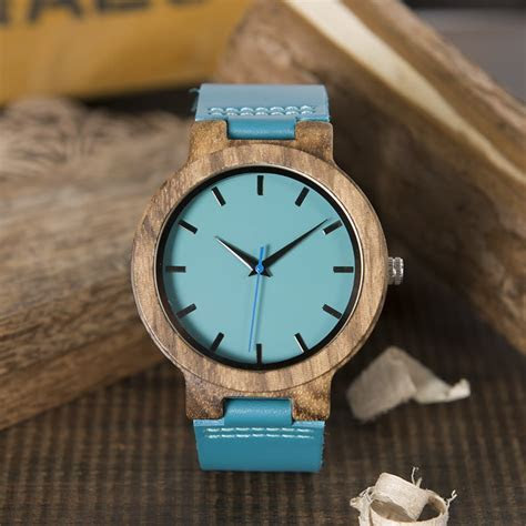 Men's Blue Face Wooden Watch With Genuine Leather Strap