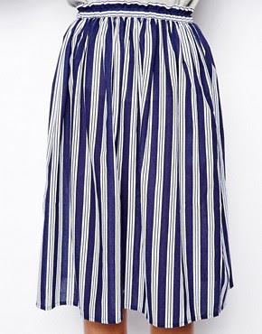 Image 3 ofASOS Woven Midi Skirt in Stripe