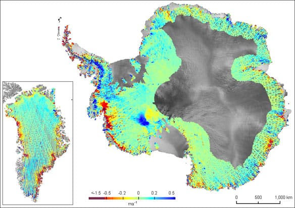 These maps show the pattern of surface height change over the Antarctic and Greenland ice sheets for the 2003-2008 period. Red areas indicate where the surface height is lowering.